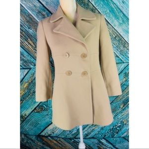 VTG Talbots Beige Double Breasted Pea Coat
